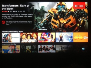 The new Netlfix interface uses more of the screen to  to highlight  it features.