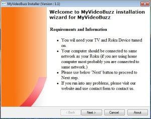 My Video Buzz install screen