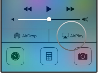 Screenshot from Apple Support showing the Airplay button.