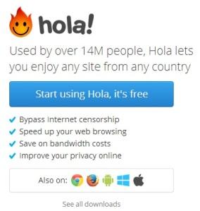 Hola Downloads options