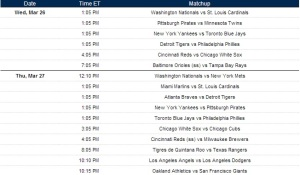 MLB TV Spring Break Games